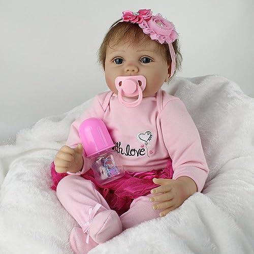LINAG Babypuppen Reborn Baby Vinyl Silikon Weißh Lebensechte Realistische Wirkendes Neugeborene Wiedergeboren Spielkameraden Spielhausspielzeug Simulation 55cm Toy-73262