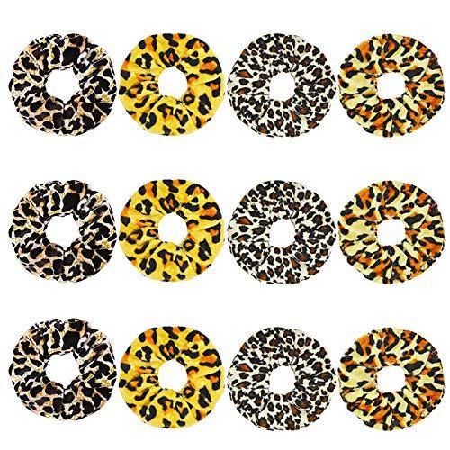 12 pièces/Set Femmes Velvet Scrunchie Pack Bandeaux for Les Filles Couvre-Chef Femme Leopard Chouchous Accessoires Cheveux Ties Chouchous Velvet Hair (Color : Mix Color, Size : One Size)