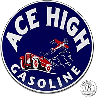 Brotherhood Ace High Ethyl Gasoline Corporation Motor Oil Gas Insignia Emblem Seal Vintage Gas Signs Reproduction Car Company Vintage Style Metal Signs Round Metal Tin Aluminum Sign Garage Home Decor