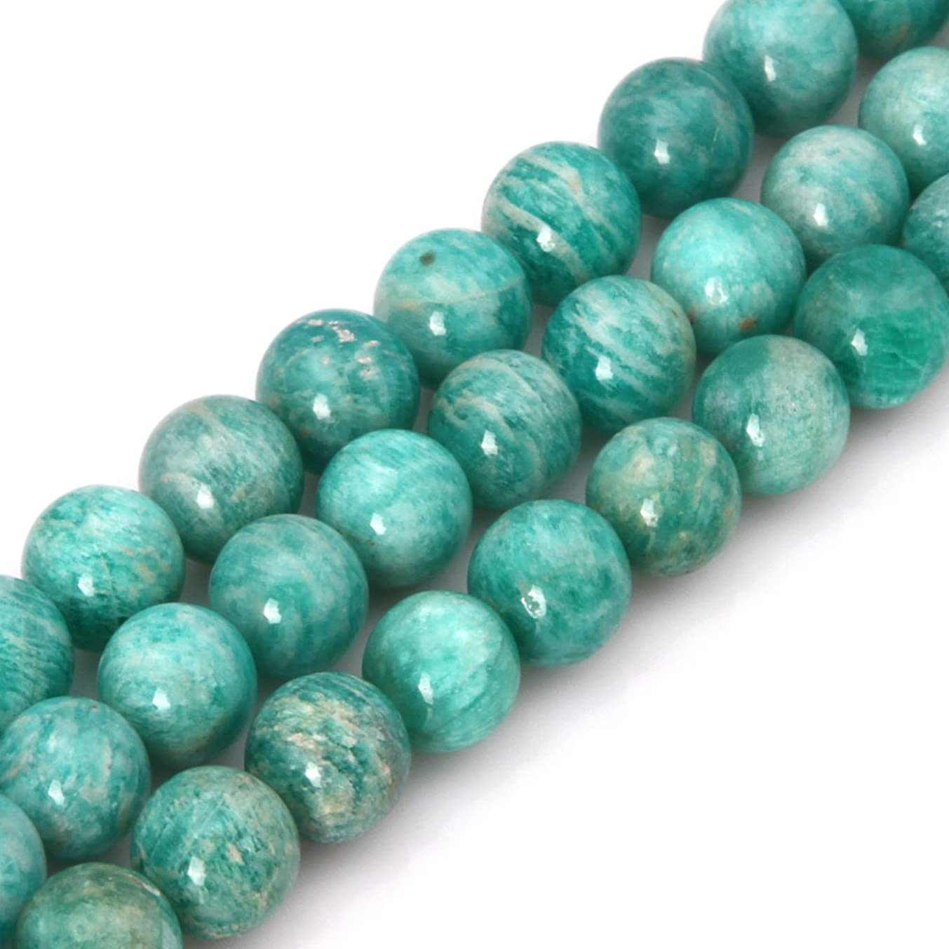 GEM-inside Natural 10mm Brazilian Amazonite Energy Stone Round Loose Beads for Jewelry Making Jewelry Beading Supplies for Women