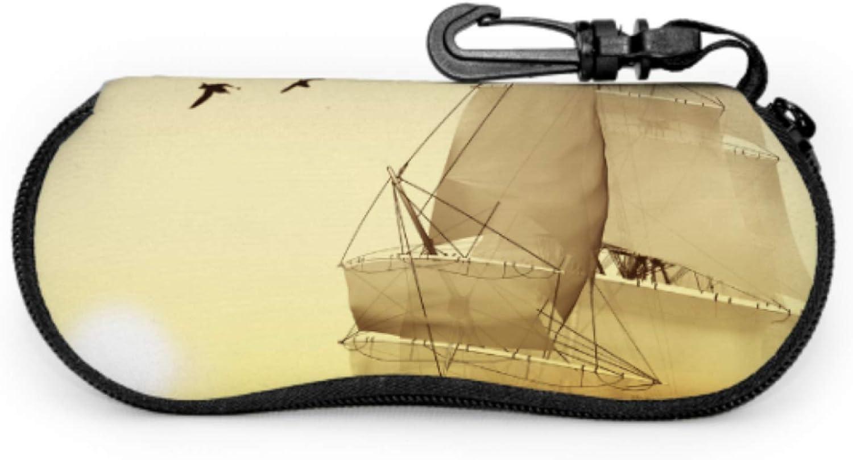 Sailing Yacht Sailboat Eyeglasses Cases For Men Decorative Glasses Case Light Portable Neoprene Zipper Soft Case Durable Eyeglass Case