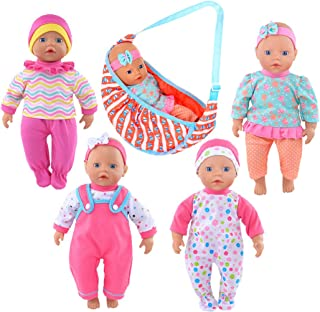 ebuddy 4 Sets Doll Outfits Clothes with 1 Carrier Bag for 10 inch Baby Dolls ,12 inch Alive Baby Dolls New Born Baby Dolls