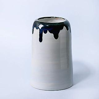 Jarrón de cerámica simple hecho a mano para flores decoración del hogar esmalte azul gris
