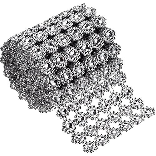 Bememo 6 Rows Silver Flower Diamond Mesh Wrap Roll Faux Crystal Rhinestone Ribbon for Party Decorations, 4 Inch x 3 Yards