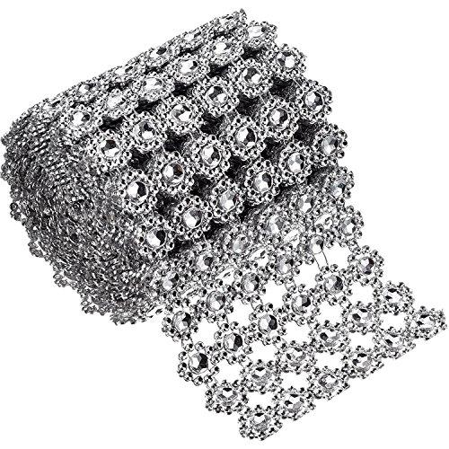6 Filas de Diamantes de Flor Plateados Rollo de Malla de Diamantes de Imitación Cinta de Cristales Falsas para Decoraciones de Fiesta, 4 Pulgadas x 3 Yardas