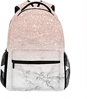 Modern Artificial Rose Gold Pink Bright White Marble bags for Men, Cute Casual Backpack Travel Bags Women Daypack Travel Bag
