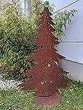 Zen Man Edelrost Garten Weihnachtsdekoration mit Glaskugel Glasdeko Weihnachtsbaum Dekobaum aus Metall Edelrost Rost Weihnachten Deko 032042-1 H115*71cm +Grün