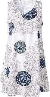 TOTOD Dress for Women,Plus Size Boho Print Mini Dress Loose Shift Sleeveless Tank Vest Sundress US 4-18