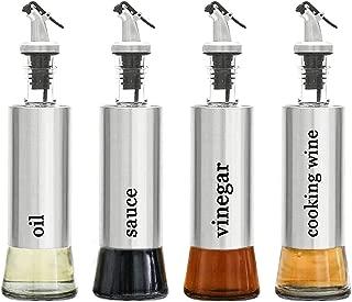 Tebery 4 Pack Oil and Vinegar Cruet Dispenser Set with Drip Free Design Elegant Stainless Steel with Glass Bottom