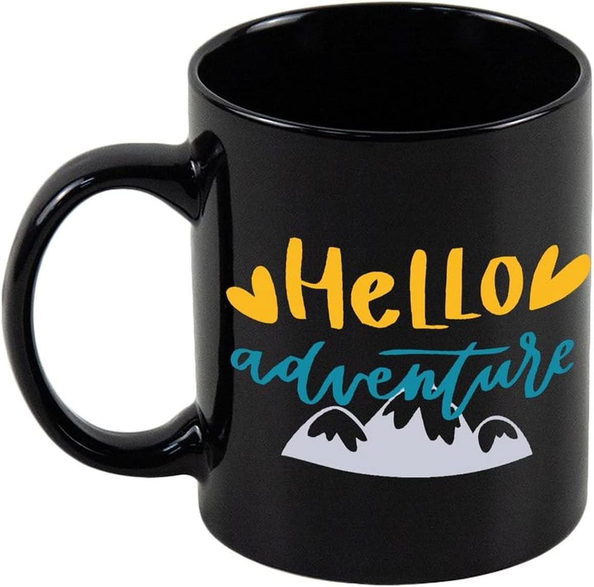 Aihesui 11 Oz Black Jacksonville Mall Ceramic Tea quality assurance Adventure Mug With Hello Coffee