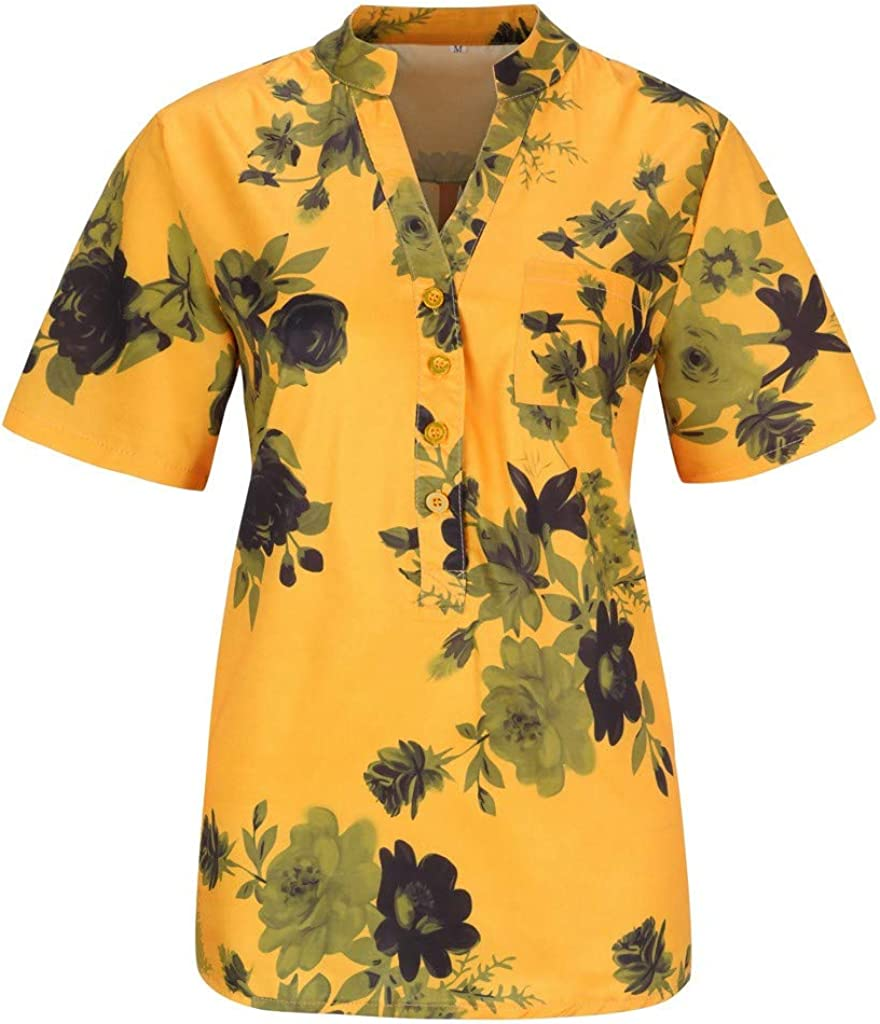 POPLY Frauen Große Größe Top Shirt Damen Drucktasche Kurzarmbluse Tank Tops Bohemian Lässige T-Shirt Plus Size Taste Hemd Gelb