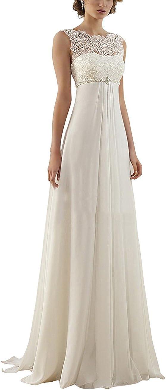 H.S.D Women's Elegant A Line Wedding Branded goods Empire Discount mail order Long Chiffon Dress B