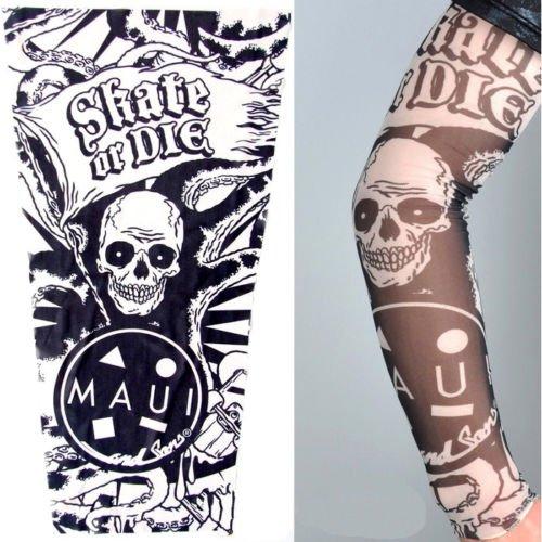 Inception Pro Infinite W101 - Modello 29 - Manicotto Tattoo - Manica - Tatuaggio Finto - Immagine - Teschio - Bandiera - Tentacoli - Scritta - Skate Or Die - Tatoo - Mezza Manica - Tribale