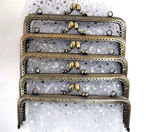 ノーブランド アンティーク風 がま口 角型 くし型 口金 セット どんぐり 選べる 材料 手芸材料 ハンドメイド 角型どんぐり波タイプ 18cm10個