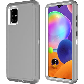 Shockproof Impact Resist Durable Phone Case E-Began Case for Samsung Galaxy A31 Full-Body Protective Rugged Matte Bumper Cover with Built-in Screen Protector Clear