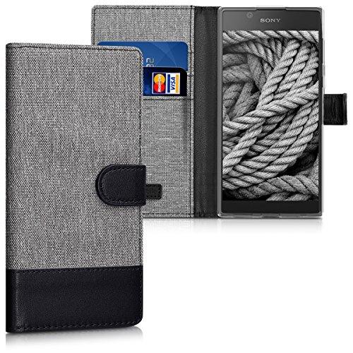 kwmobile Wallet Hülle kompatibel mit Sony Xperia L1 - Hülle Kunstleder mit Kartenfächern Stand in Grau Schwarz