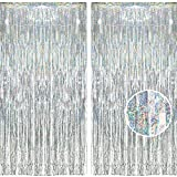 BRAVESHINE 2 Pack 3.2 ft x 8.2 ft Tinsel Foil Fringe Curtains Metallic Photo Booth Backdrops Party Supplies for Birthday Wedding Christmas Baby Shower Bridal Bachelorette Holiday Decorations - Silver