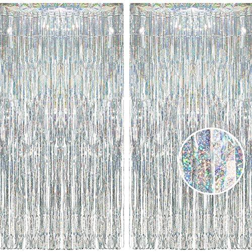 BRAVESHINE Glitzer Silber Metallische Lametta Vorhänge Hintergrund, Funkeln Vorhängen Dekoration für Geburtstagsfeier Hochzeitsfoto Hintergrund Weihnachten Disco Party (2 Stück,1x2.5m)