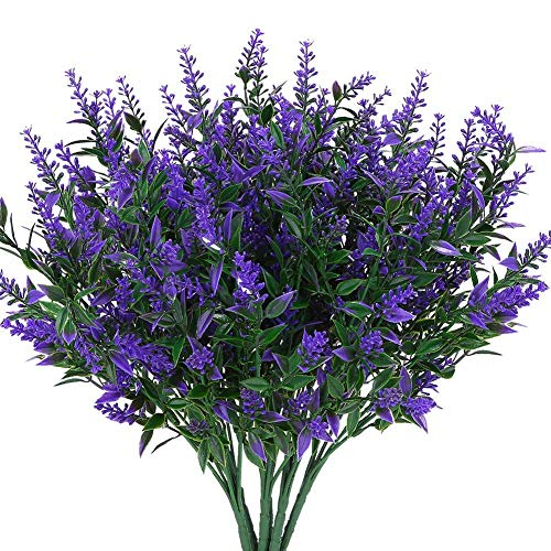 ZHENAO Flores de Lavanda Artificiales Plantas de 6 Piezas, Resistentes a la Vida Útil Resistentes a Los Arbustos de la Vegetación Ramo de Arbustos de Vegetación para Iluminar la Dec