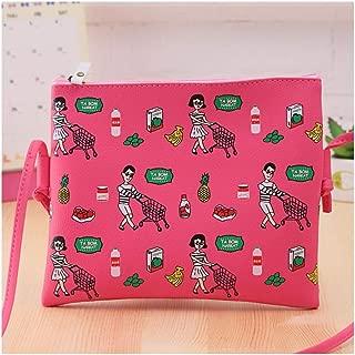 PINGJING Harajuku Style New Floral Ladies Girls Clutch Bag PU Messenger Bag Shoulder Shopping Bag