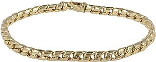 Gioiello Italiano - Bracciale grumetta bombata da uomo in oro giallo 14kt, lunghezza 22cm