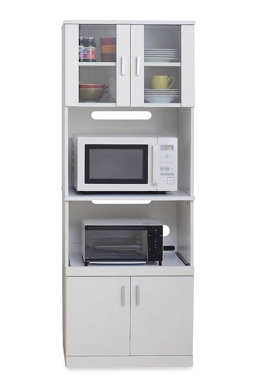 あいまいなにおい蒸留JKプラン レンジ台 レンジ棚レンジラック食器棚 北欧 キッチン収納 スライド棚 付き幅 60 高さ 160 収納 棚 ラック ガラス扉 おしゃれ ホワイト 白 FAP0016WH