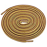Birch 1/5' Thick Tough and Heavy Duty Round Boot Laces for Boots and Hiking Shoes. (54'(138cm)-M, Yellow/Brown)