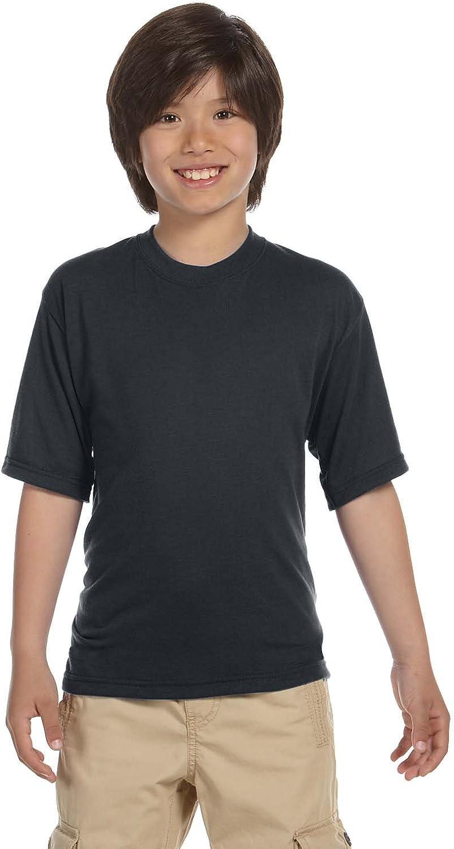 Jerzees Big Boys 1X1 Rib Collar Tear Away Label T-Shirt, Large, Charcoal Grey
