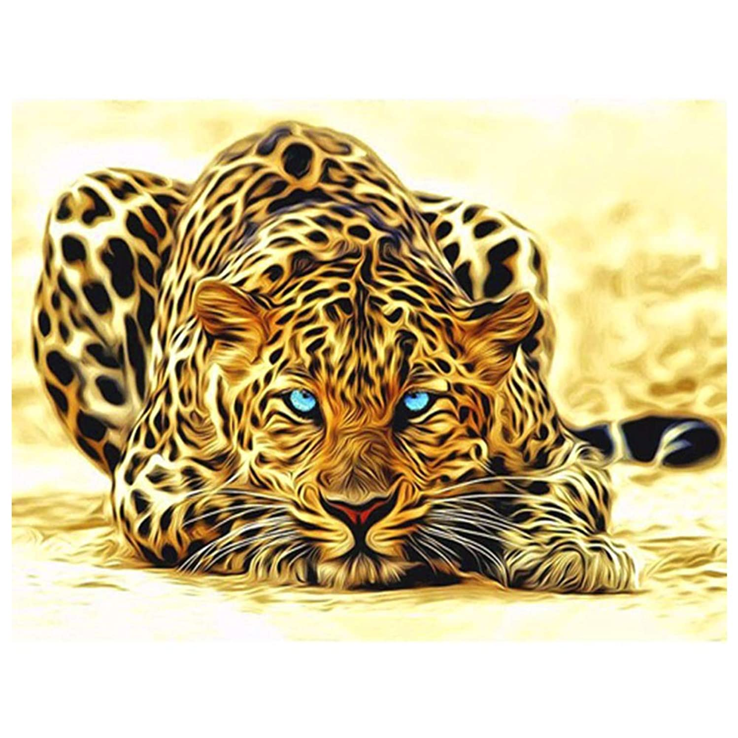Geboor Paint by Numbers for Adults DIY Oil Painting Kits On Canvas with Brush Accessories for Beginner and Painter Without Frame 40x50cm Leopard