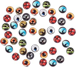 PH PandaHall 100pcs 12mm Round Animal Evil Eyes Flatback Glass Dome Cabochons Gems for Halloween Cameo Pendant Jewelry Making Handcrafts Scrapbooking