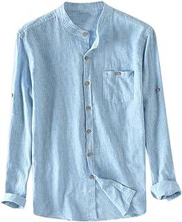 قمصان رجالية بمقاس كبير قابلة للتنفس من القطن فضفاض بأزرار وجيب طويل الأكمام