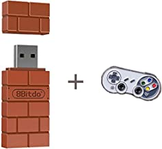 8Bitdo Wireless Controller Adapter for Nintendo Switch, Windows, Mac, Raspberry Pi with a Commemorative Brooch
