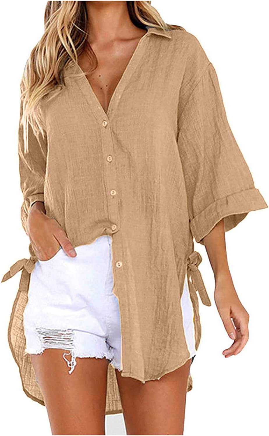 Womens Linen Blouse V Neck Lapel Button Shirts Lace-up Side Knot Casual 3/4 Sleeve Tops
