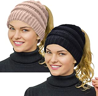 Ponytail Beanie for Women,Winter Warm Beanie Tail Soft Stretch Cable Knit Messy High Bun Hat