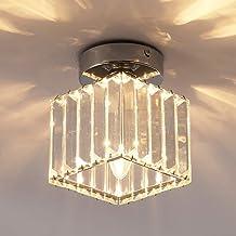 Jaycomey Crystal Square Ceiling Light, Semi Flush Mount Modern Ceiling Lamp, LED Ceiling Lighting fixture, Chrome Mini Pen...