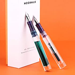 2019 Updated Moonman C1 Fountain Pen Fine Nib, Clear Transparent Acrylic Resin, Mini Pocket Pen, Eyedropper,Cartridges and Converter Filling
