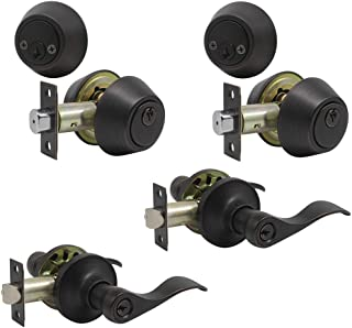 Probrico Hardware Heritage Front Door Entry Lever Lockset with Double Cylinder Deadbolt Combination Set Keyed Alike with Oil Rubbed Bronze 2 Pcak