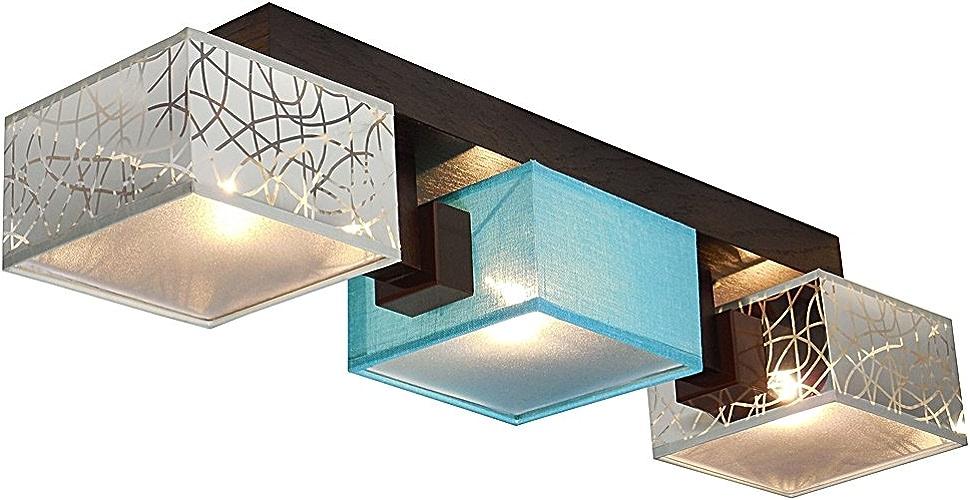 Lampe de Plafond Wero Design barsa-014b Plafonnier, Applique, en bois, lampes Parasol avec 4, 4lampes Argenté Orange (Transparent) argent Türkis Transparent