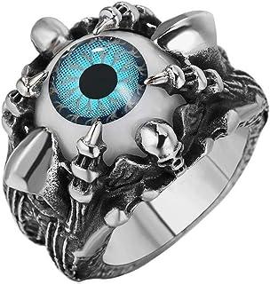 خاتم ستانلي ستيل كبير عين زرقاء و جمجمة مقاس US 11