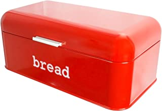 Bread Box for Kitchen Counter - Stainless Steel Bread Bin Storage Container For Loaves, Pastries, and More - Retro/Vintage Inspired Design, Red, 16.75 x 9 x 6.5 inches