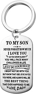 Jvvsci To My Son Dog Tag Just Do Your Best Inspirational Necklace Keychain Uplifting Jewelry Encouragement Teen