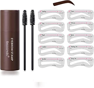 Waterproof Eyebrow Stamp Kit,Makeup Stamp Shaping Kit Eyebrow Definer Hairline Shadow with 10 Reusable Eyebrow Stencil and...