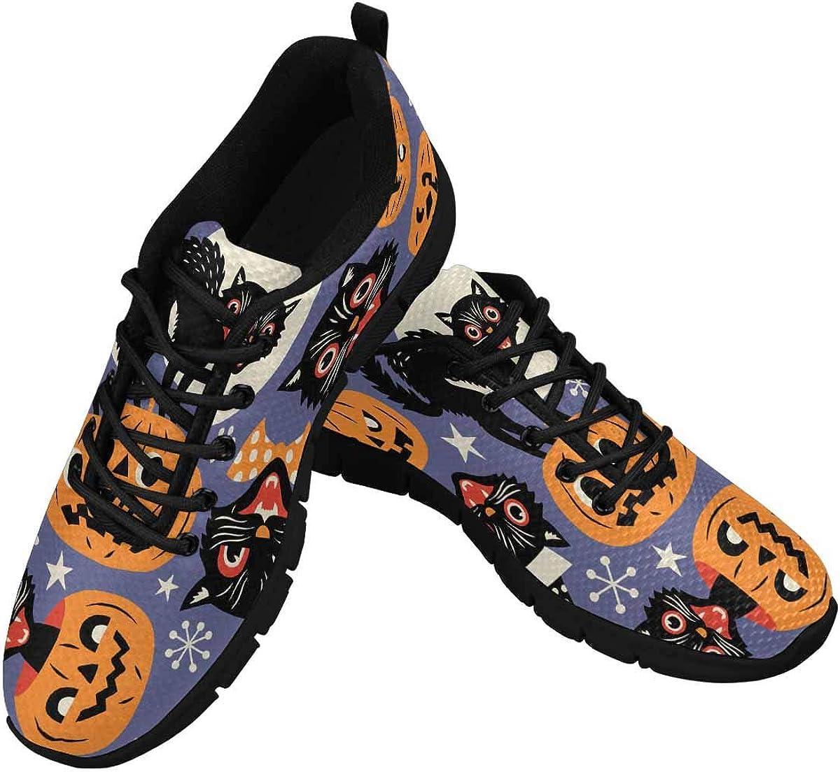 INTERESTPRINT Halloween Pumpkin Cats Women's Running Shoes Mesh Breathable Sports Casual Shoes