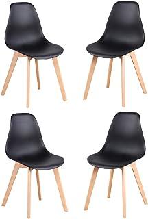 Luckeu - Juego de 4 sillas de comedor con patas de madera maciza de roble y sillas de cocina