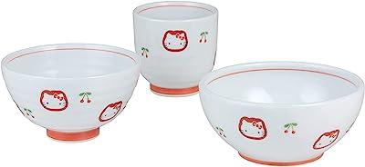 CtoC JAPAN ハローキティ チェリー 食卓セット / 茶碗φ10.7cm 湯呑みφ7.4cm 小鉢φ11.9cm 有田焼 日本製 888321 ホワイト レッド