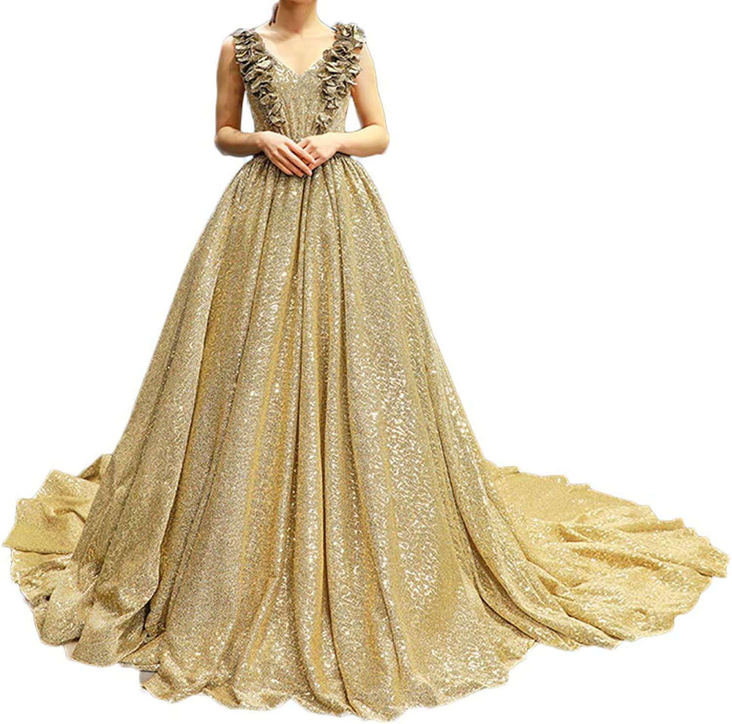Blacktiedress Sparkly Champagne gold Sequined Evening Party Dresses Long Train