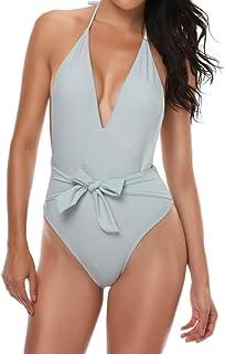 JOYS CLOTHING 女性の結び目のフロントVネックビキニワンピースホルターMonokiniビーチウェア (Color : グレー, サイズ : M)