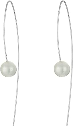 Sterling Silver Thread Thru Wire Earrings with White Fresh Water Pearls