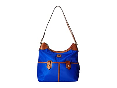 Dooney & Bourke Camden Zip Hobo (French Blue/Dark Chocolate Trim) Hobo Handbags