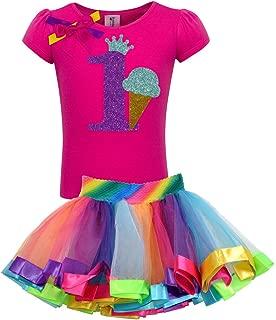 Little Girls' 1st Birthday Ice Cream Cone Shirt Rainbow Tutu Outfit